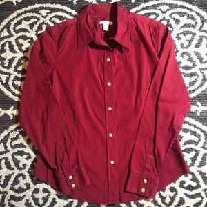 GAP stretch red button up long sleeve shirt. Sz M.